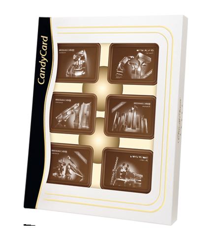 Cioccolatini personalizzabili sulla superficie e sul packaging